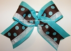 Turquoise Brown Polka Dots Big Cheer Bow