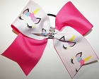 Sparkly Unicorn Neon Pink Cheer Bow