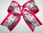 Valentine's Day Hugs Kisses Silver Cheer Bow