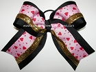 Valentine's Day Hugs & Kisses Gold Big Cheer Bow