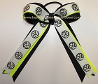 Volleyball Ribbons Neon Yellow Black Ponytail Holder Bow