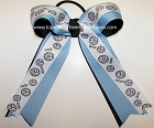 Volleyball Ribbons Blue Black Ponytail Holder Hair Bow