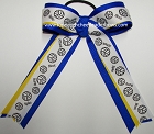 Volleyball Electric Blue Yellow Ponytail Holder Bow
