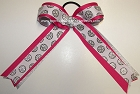 Volleyball Ribbons Shocking Pink Silver Ponytail Holder Hair Bow
