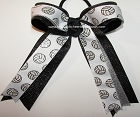 Volleyball Glitter Black Silver Ponytail Holder Bow