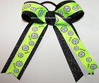 Volleyball Neon Lime Black Glitter Ponytail Holder Bow
