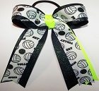 Volleyball Neon Lime Navy Glitter Ponytail Bow