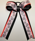 Volleyball Neon Orange Black Ponytail Holder Bow