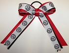 Volleyball Ribbons Red Black Ponytail Holder Bow