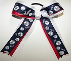 Volleyball Ribbons Navy Blue Ponytail Holder Hair Bow