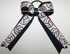 Volleyball Navy Blue Red Ponytail Holder Bow