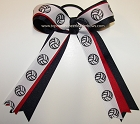 Volleyball Ribbons Navy Blue Red Ponytail Holder Bow