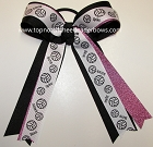 Volleyball Ribbons Hot Pink Ponytail Holder Bow