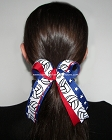 Volleyball Red White Blue Stars Ponytail Bow