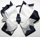 Navy White Gray Ponytail Holder Bow