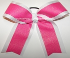 Glitter Hot Pink White Ponytail Holder Bow