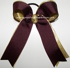 Maroon Gold Ponytail Holder Bow