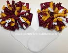 Maroon Gold White Korker Bow Socks