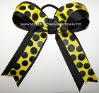 Glitter Yellow Black Ponytail Holder Bow