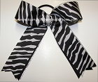 Black White Silver Ponytail Holder Cheer Bow