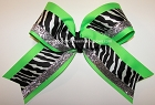 Zebra Neon Green Black Silver Big Cheer Bow