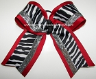 Zebra Red Black Silver Big Cheer Bow