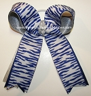 Tigers Blue Silver Ponytail Holder Bow