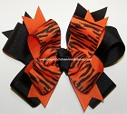 Tigers Orange Black Ponytail Bow