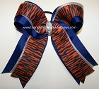Tigers Blue Orange Silver Big Cheer Bow