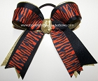 Tigers Orange Navy Gold Ponytail Holder Bow