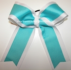 Turquoise White Cheer Ponytail Holder Bow