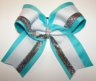 Turquoise White Silver Big Cheer Bow