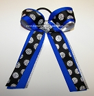 Volleyball Ribbons Black Blue Ponytail Holder Bow