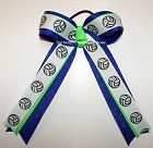 Volleyball Neon Lime Blue Glitter Ponytail Bow