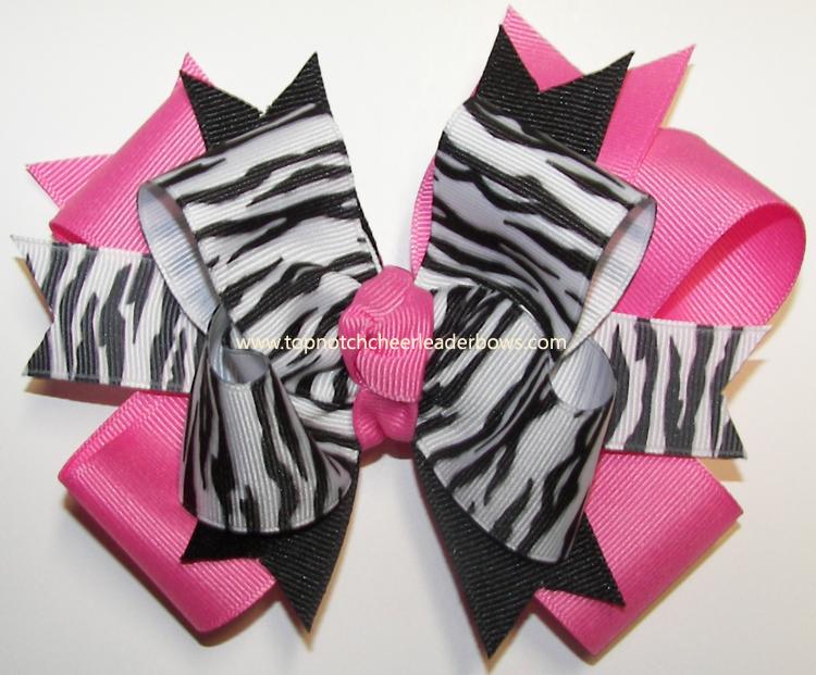 Zebra Ribbon Hot Pink Girls Cheer Hair Bow