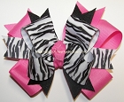 Zebra Hot Pink Black Ponytail Cheer Bow