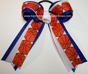 Basketball Sparkly Blue White Ponytail Bow
