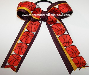 Basketball Maroon Yellow Gold Ponytail Bow