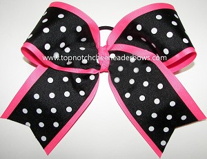 Black Neon Pink Polka Dots Big Cheer Bow