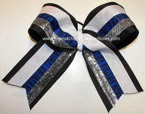 Tigers Royal Blue Black Silver Big Cheer Bow