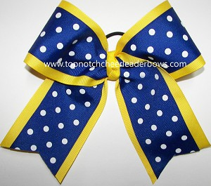 Yellow Blue Polka Dots Big Cheer Bow