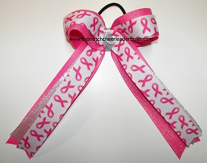 Pink Glitter Breast Cancer Ponytail Bow
