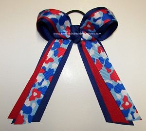 Camouflage Ribbon Patriotic Ponytail Holder Cheer Bow