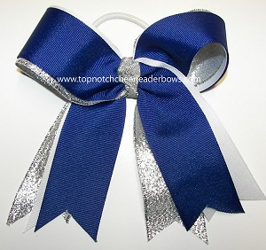Royal Blue White Ponytail Holder Bow