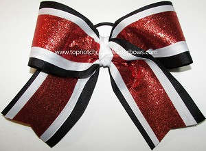 Sparkly Red Black White Big Cheer Bow