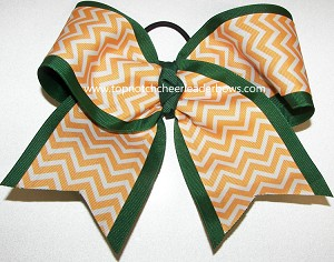 Chevron Yellow Gold Green Big Cheer Bow