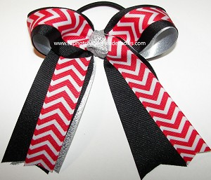Chevron Red Black Silver Ponytail Holder