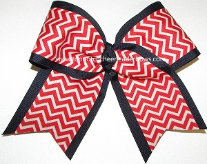 Chevron Red Navy Blue Big Cheer Bow