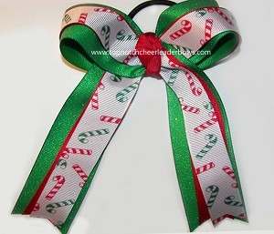Christmas Candy Cane Green Ponytail Bow
