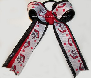 Christmas Sleigh Bears Red Black Ponytail Bow